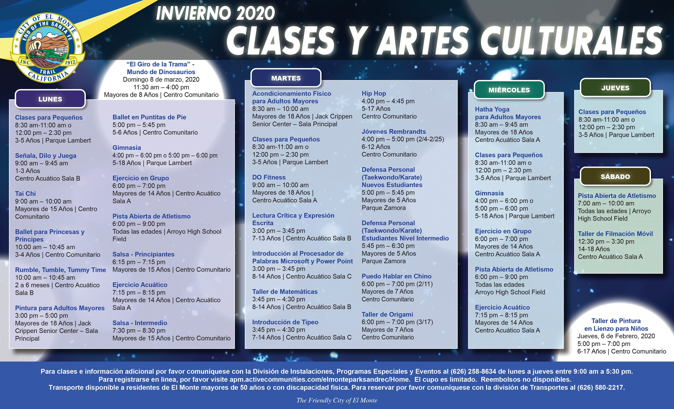 Cultural Arts and Leisure Classes Flyer SPANISH (Winter 2020) - 110719_edit 08 sample